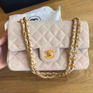 Vintage Pink Chanel Suede Small Double Flap Bag
